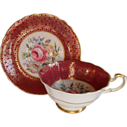 Paragon Quatrefoil Burgundy Pink Rose Teacup/Saucer