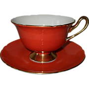 Elegant Shelley Orchard Fruit Tangerine Orange Teacup and Saucer Gold Foot