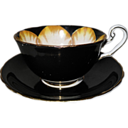 Victoria C & E Handpainted Jonquil Black on Black Teacup and Saucer