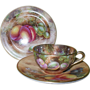 Royal Worcester Miniature Fruit Study Gold Teacup/Saucer/Plate Trio Signed