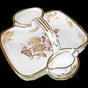 Gorgeous Hammersley England Gold on White Porcelain Scone Basket Set