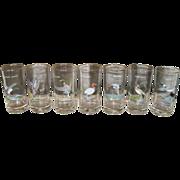 Set of 7 Vintage Ned Smith Wildlife Drinking Barware Glasses Culver 1950's