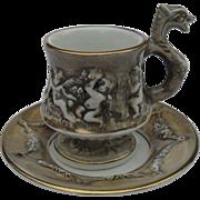 Capodimonte Dragon Handle Cherubs Demitasse Cup and Saucer