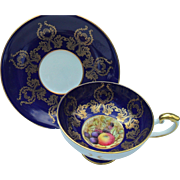 Aynsley Low Doris Pedestal Fruit Cobalt Blue Gilt Teacup and Saucer Signed D. Jones