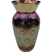 Large Venetian Murano Glass Cranberry Gilt Enamel Flower Vase