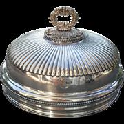 "Antique Sheffield Silverplate Turkey Meat Dome Heraldic MacCallum Crest 16"""