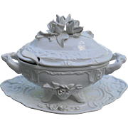 Vintage Capodimonte Applied Roses Large Covered Soup Tureen with Undertray