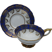 SOLD Commnding Royal Stafford Deep Blue and Gold Teacup and Saucer