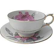 Charming Windsor HP Pink Lily on White with Grey Teacup and Saucer