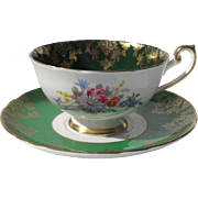 Vintage Shelley Lincoln Shape Green Floral Teacup and Saucer 0657/554