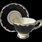 Royal Albert Flat Black Gold Teacup and Saucer