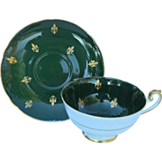 Vintage Shelley Gold Fleur de Lis on Green Teacup and Saucer