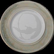 Elegant Royal Doulton English Renaissance Gold Filigree Aqua Dinner Plate