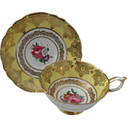 Paragon DW HP Summer Rose Floral Yellow and Gold Teacup and Saucer