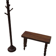 Vintage Miniature Wooden Bench and Coat Rack For Your Doll House