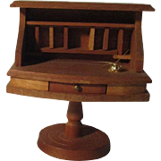 Vintage Miniature Wooden Doll House Desk