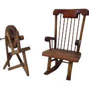 Vintage Wooden  Rocking Chair and Spin Wheel