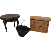Vintage Table, Dresser, Ash Bucket for your Miniature Doll House.