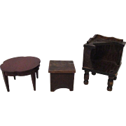 Vintage Wooden Tables and Stool For Your Miniature Doll House.