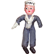 Vintage Celluloid Sailor Doll For Parts or Repair