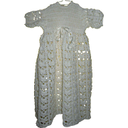 Vintage White Knitted Baby Or Doll Dress