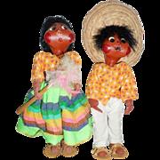 Vintage Mexican/Latino 11 Inch Folk Art Cheese Cloth Canvas Rag Dolls