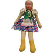 Vintage Poland Cloth Doll with Celluloid Face