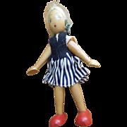 Vintage Wooden Girl Doll