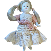 German Bisque Doll in Crochet Outfit