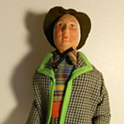 Vintage French Santons Doll - Man with his umbrella