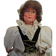 Antique Paper Mache Doll in Regional Outfit