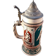 "Pewter lidded German Art Nouveau ""Ober-Ammergow miracle"" Stein"