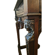 SALE Carved Walnut 19th c Renaissance Revival stand with Bronze Empire Style Mounts