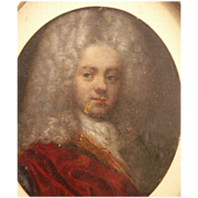 SALE Exceptional  17th c Portrait Miniature, Oil on Brass