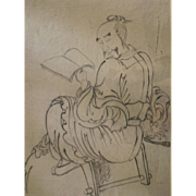 SALE Sublime school of Katsushika Hokusai Edo ink  painting of Chinese scholar