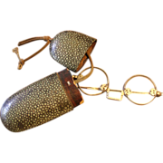 Antique Shagreen Eyeglass Case with Chinese Eyeglasses