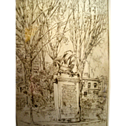19th c  William H. Wilke etching Robert Louis Stevenson Monument in San Francisco