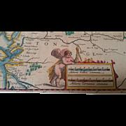 Original Double Folio Map of Western France Circa 1650