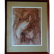 SALE Signed Barbara A Wood artist's proof Mother and Daughter limited edition serigraph print