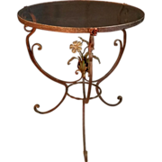 Charming Vintage Italian Tole Floral and Iron Round Side Table