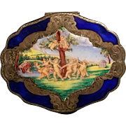 SALE Silver and Enamel Florentine Compact
