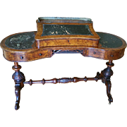 Exceptional Antique English Walnut Burl Kidney Shaped Davenport Pedestal Desk