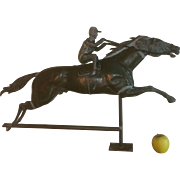 Antique Full Bodied American Folk Art Running Horse and Jockey  Weathervane