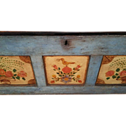 SALE 19th c Blue Folk Art Hand Painted Dowry or Wedding Chest / Trunk