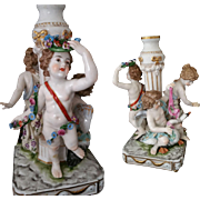 SALE Antique German Dressel Kister Porcelain Figurine Candlestick with Putti / Cherubs