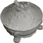 SALE Vintage creamware bird lidded dish