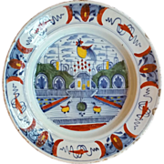 18th century Polychrome English Delft Charger Plate with Cockerel and Chinese landscape