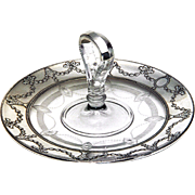 Sterling Silver & Crystal Serving Tray Vintage Large