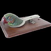 Vintage Parrot Desk Clip Board Polychrome Cold Painted Spelter Antique