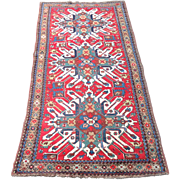 Antique Caucasian Kazak Runner Rug 19th C